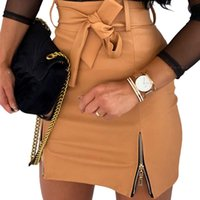 Skirts Women Short Skirt PU Leather Sexy Bodycon Mini Double Zipper High Waist Solid Color