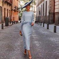 Feather Sheath Mother of the Bride Dresses Tea Length Satin Wedding Guest Gowns with Long Sleeve Jewel Neck Vestidos De Fiesta