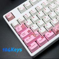 Alta Qualidade 2021 Novos 104 Keys PBT Pink Sakura Padrão Keycaps Conjunto De Substituição Definido Teclado Acessório Drop Shipping