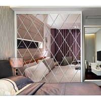 Diamond Mirror Wall Stickers 3D DIY Self-adhesive Stickers Living Room Bedroom Decor Acrylic Decal Art Mirror Wall Film Tiles A0603