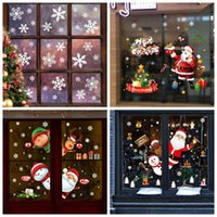 Weihnachtsdekorationen 2021 Merry Glas Fenster Aufkleber Glückliches Jahr Dekor für Haus Weihnachtsbaum Santa Claus Schneemann Schneeflocke