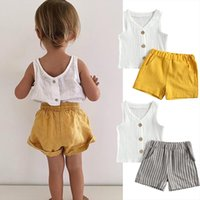 Summer Causal Baby Girls Clothes Sets Sleeveless Single Breasted Vest Tops Striped Shorts 2pcs