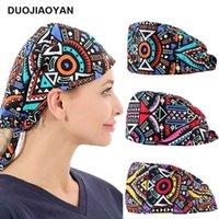 holder Creative color geometric pattern doctor nurse working hat lace up Headband