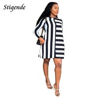 Casual Dresses Stigende Fashion Black And White Striped A Line Dress Women Long Sleeve O Neck Short Sexy Elegant Mini Party