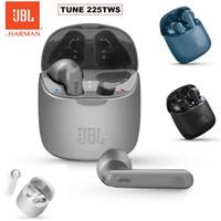 공식 JBL T225TWS True 무선 블루투스 이어폰 튜닝 225TWS 스테레오 이어 버드베이스 사운드 헤드폰 헤드셋