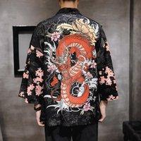 Etnik Giyim Japon Kimono Adam Haori Yukata Asya Streetwear Samuray Kostüm Hırka Gömlek Erkekler Geleneksel Kimonos 10909
