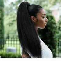Cheveux Brésiliens 16 pouces 120g Couleur naturelle Kinky Droit Ponye de queue Human Human Vernies Yaki Droite droite Queue de queue