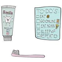 Булавки, броши 1 шт. Для списка зубной щетки зубной пасты булавка улыбка зубов есть пицца бургер отворота стоматолога
