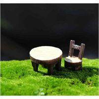 2pcs / Set tavolo rotondo e sedia pianta in vaso pianta ornamento fai da te modello materiale artigianato muschio terrarium micro paesaggio fiera jllbgt xmhyard