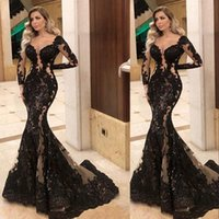 2021 Sexy Black Mermaid Evening Pageant Dresses Illusion Long Sleeve Lace Sequins Appliqued Sheer Sweetheart Crystal Beads Fishtail Occasion Prom Wear Gowns
