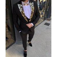 Men's Suits & Blazers Handsome Black Wedding Set For Men Groom Wear Blazer Tuxedos Custom Made Peaked Lapel Sequins Jacket+Vest+Pants Slim F