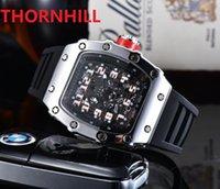 Hip Hop Cool Men's Watches Luxury Number Dial Designerquartz movement men watch Calendar Square Iced Out Wristwatch bracelet relojes Gift