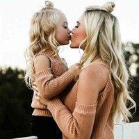 가족 일치하는 어머니와 딸 의류 복장 엄마 드레스 스웨터 어깨 롱 슬리브 Kintwear 210727