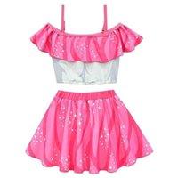 Kızlar Bikini Set Sevimli Mayo Prenses Stil Çocuk Mayolar Bebek Tasarımcıları Bikiniler Kıyafet Yelek Üstleri Ve Şort Mini Etek Yüzmek Plaj Giyim G807ID4