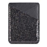 Card Holders Credit Pocket Fashion Multifunction Sequin Decoration Practical Ultra Slim Self-adhesive Stick On Phone Business Holder
