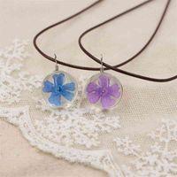 Flor seca hecha a mano hoja delgada belleza collar de cerezo colgante diydiy collar de cuerda tiempo cadena de clavícula