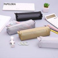 Bleistift-Taschen Einfache transparente Mesh-Tasche Kawaii Nylon Stift Bag Box Schreibwaren Beutel für Kinder Geschenk Büro Schulbedarf