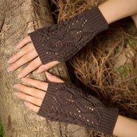 Five Fingers Gloves La MaxPa Women Stylish Hand Warmer Winter Arm Crochet Knitting Faux Wool Mitten Warm Fingerless K2144