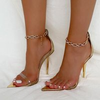 New Sexy Sandals Women Plus Size 41 Pointed Toe Metal High Heels Rhinestone Chain Wedding Party Shoes For Women Rome Sandals