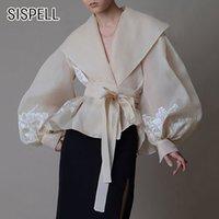 Sispell Lantern Sleeve per camicette femminile Camicette Collare di risvolto Lace Up Bowknot Syl Slim Ricamo Donne Camicia vintage da donna 210225