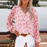 Women's Blouses & Shirts Fashion Lantern Sleeve Floral Print Chiffon Shirt Women Sexy V-Neck Slim Pullover Tops 2021 Autumn Casual Streetwea