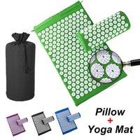 Acupressure Yoga Mat Mat Lotus Spike Almofada Aplicador Back Pain Relief Agulha Almofada Eco Presamat Travesseiro Saco de Presente Saco De Ginásio