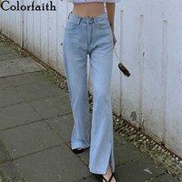 Colorfaith Women Spring Jeans High Waist Casual Trousers Straight Denim Streetwear Wild Split Wide Leg Long Pants J4048 210616