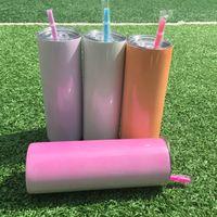 Sublimación en blanco blanco flaco tumbler UV Cambio de color Cambio de color 20 oz Tumblers rectos para la transferencia de calor Regalo de Navidad