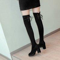 Kadın Kare Yüksek Topuklu Botlar Seksi Lace Up Kış Ayakkabı Kadın Diz Üzerinde Yüksek Çizmeler Kadınlar Için Sivri Burun Bota Feminina # N30 Q5VM #