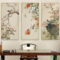 Chiński styl kwiaty i ptaka malowanie ptaków śpiew na śliwki kwiat artystyczny obraz na płótnie Plakaty do dekoracji domu 210310
