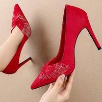 Обувь платья 2021 Размер 34-40 Женщины 10см Экстремальные высокие каблуки Заостренный Нойк Eden Красный Земно-Зернистые Блен Гус Пряжка Эскарпинс Свадьба