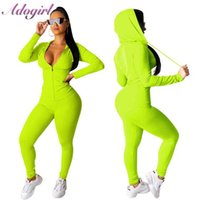 Adogirl Women Tracksuit Two Piece Set Zipper Up Long Sleeve Hooded Sweatshirts Top+ Fitness Long Pants Outfit Sporting Suit Set Y0625
