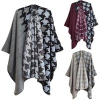 Scarves Designer Scarf Winter Warm Houndstooth Ponchos And Capes For Women Oversized Shawls Wraps Cashmere Pashmina Female Bufanda Mujer