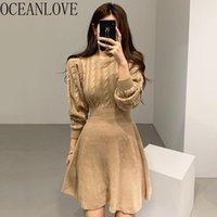 Robes décontractées Oceanlove 2021 Robe de pull d'hiver Femmes Solide Élégant Vintage Vintage Vestidos Chic High Taille Mini Robes 18720