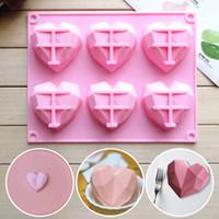 3D DIY 실리콘 사랑 케이크 금형 6 캐비티 다이아몬드 사랑 심장 퐁당 장식 도구 초콜릿 과자 금형 베이킹 액세서리