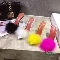 fashion-Dress Shoes Akexiya Summer Women Sandals PVC Transparent Feather Crystal High Heels Fur Pointed Toe Mules Slides Furry Slippers
