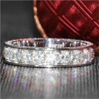 Cluster Rings Eternity 3 Row Full Lab Diamond Ring 925 Sterling Silver Engagement Wedding Band For Women Bridal Statement Party Jewelry