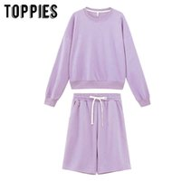 toppies 2020 women two piece set tracksuits o-neck sweatshirts elastic high waist bermuda shorts solid color Q0527