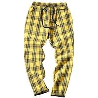 2021 New Streetwear Amarelo Preto XADREZ DOS Homens Corredores Homem Casual EM Linha Reta Harem Masculinas Correano Hip Hop Calas X7UF