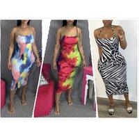 Kadın Elbiseler 2020 kadın Hollow Seksi Sling Graffiti Baskı Kravat Boya Elbise Moda Mizaç Gece Kulübü Parti Elbise