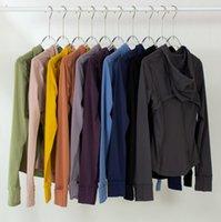 Yoga ceketler lulu giyerKapüşonlu Bayan Tasarımcılar Spor Ceket Ceket Çift Taraflı Zımpara Fitness Chothing Hoodies Uzun Kollu Giysi İki Stilleri