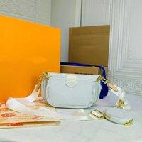 الصيف 2021 جودة عالية الكلاسيكية اللون الأبيض المرأة حقيبة 3 قطع في سيدة واحدة الأزياء حقيبة يد السيدات حقائب الصليب الجسم محفظة أكياس الكتف محفظة 18886