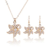 Earrings & Necklace Austrian Crystal Jewelry Fashion Leaves Pendant Sets For Women 2021