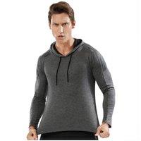 Mit Kapuze T-Shirt Sporthemd Langarm T-Shirt Herren Thin Sports Schnelltrocknende Fitnessanzug Laufen Bodybuilding Mit Kapuze Mantel