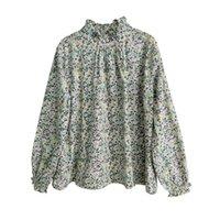 Johnature Kadınlar Baskı Çiçek T-Shirt Pamuk Tatlı Bahar Yeni 10 Renk Balıkçı Yaka Uzun Kollu Mori Kız Rahat T-Shirt 210317