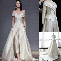 Modern Long Satin Jumpsuits wedding dress with train off shoulder outfit princess runway celebrity pant suit bridal gown