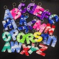 26 Letters set Christmas Favor Sensory Fidget Pop Bubble Poppers Toys Key Ring Alphabet Shape Push Bubbles Letters Keychain Toy A101