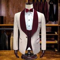 Men's Suits & Blazers 2021 Groom Tuxedo Excellent Wedding Dress High Quality Slim Fit Dance Party Set (Jacket+Vest+Pants)Costume Homme