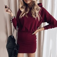Casual Dresses Fashion Women Soild Color Hooded Bodycon Mini Dress Autumn Package Hip Long Sleeve Red Pencil Robe Femme Vestidos