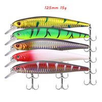 5 Color Mixed 125mm 15g Minnow Hard Baits & Lures Fishing Hooks 6# Treble Hook Pesca Tackle Accessories WA_668